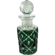 Green Overlay Cut Crystal Scent Perfume Bottle c.1880