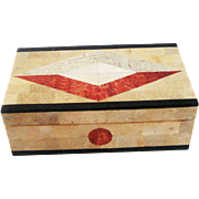 Vintage Geometric Inlaid Stone Box