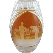 Vintage Golf Golfers Etched Crystal Glass Vase Cut Amber to Clear