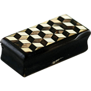 Antique Horn Snuff Box – Tumbling Blocks – c 1890