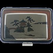 Vintage Japanese  Sterling Silver Cigarette Case  Mixed Metal -  Boat  - Signed