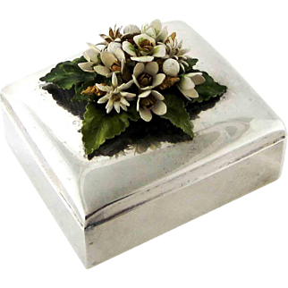 Jane Hutcheson Enameled Flowers on Silver Plated Box
