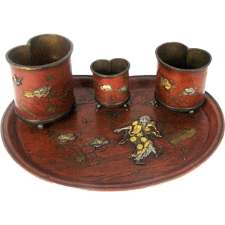 Japanese Mixed Metal Tray with Three Containers- Meiji