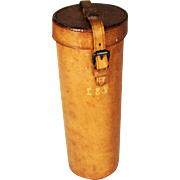 Vintage 1930's Cylindrical Leather Bottle Case Flask Case – 12 inches