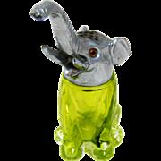 Vintage Elephant Lime Green Glass Figural Sugar Shaker