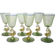 Set of 6 Large Venetian Murano Dolphin Stem Goblets Glasses  – Mid Century