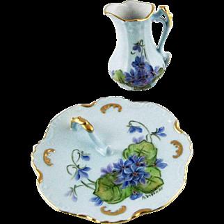 Vintage Porcelain Trinket Vanity Tray and Pitcher – Hand Painted Violets