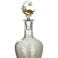 Vintage Vetri Murano Glass Decanter with Dolphin Stopper