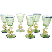 Set of 6 Medium Venetian Dolphin Stem Goblets Murano – Mid Century