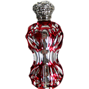 Antique Mercury and Ruby Glass Perfume Scent Bottle