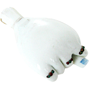 Victorian Milk Glass Jeweled Hand Perfume Scent Bottle