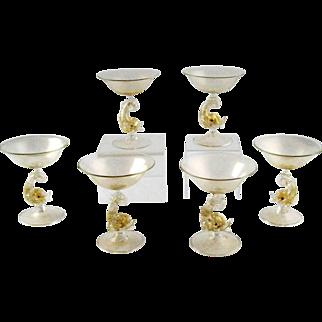 Set of 6 Champagne Venetian Dolphin Stem Goblets Murano – Mid Century