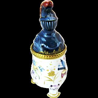 C 1770 Battersea Enamel Medieval Knight Mustard Pot