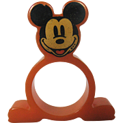Rare Mickey Mouse Bakelite Napkin Ring - Orange