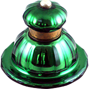 GREEN Mercury Glass Inkwell W. Lund Patent London c 1890