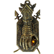 Victorian Gauntlet Figural Paper Clip with Glass Topaz Stone – Bronze