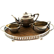 English Sterling Silver Miniature Tea Set Birmingham 1905