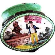 Battersea Bilston English Enamel – Memory Lord Nelson - Patch Box – c 1805
