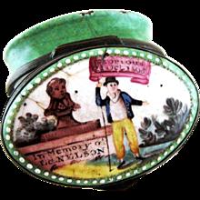 Battersea Bilston English Enamel – Memory Lord Nelson - Patch Box – c 1805