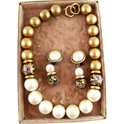 Vintage Faux Pearl Faux Gold, Cloisonne Bead Necklace Clip Earrings Set