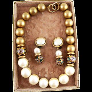 Vintage Faux Pearl Faux Gold, Cloisonne Bead Necklace Clip Earrings Set