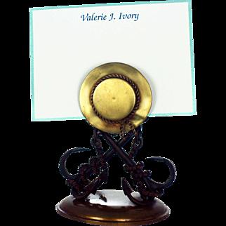 Victorian Bronze Menu Holder Letter Rack Nautical