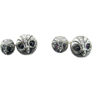 Pair Vintage Owl Cufflinks – Large & Small Owls – Sterling Silver