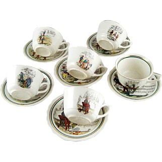 Vintage Set 6 French Opera Tea Cups & Saucers - PV