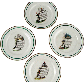Set Four Vintage French Opera Butter Plates - VP