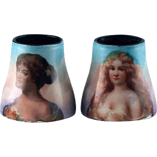 Pair Hand Painted Enamel Tubes for Opera Glasses - circa 1900