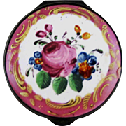 Battersea Bilston English Enamel Patch Bonbonniere Box – Pink Floral – c 1780