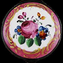Battersea Bilston English Enamel Patch Bonbonniere Box – Pink Floral – c 1780