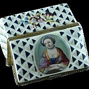18th Century Battersea Bilston Enamel Portrait  Snuff Box