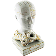 19th Century Phrenology Head Inkwell – F. Bridges – Gilded Decoration