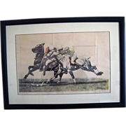 Vintage Hand Colored Etching Polo Signed F. Rebour