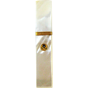 Palais Royale Mother of Pearl Needle Case Etui - Enamel Pansy - 19th Century