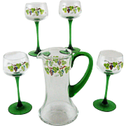 Vintage German Pitcher and Four Crystal Wine Glasses Green Stems – Hand Painted