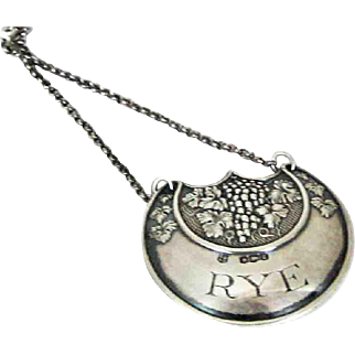 Rye Bottle Label Tag Sterling Silver – dated 1909