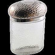 Silver Topped Glass Bottle/Dresser Jar -  London 1916-17