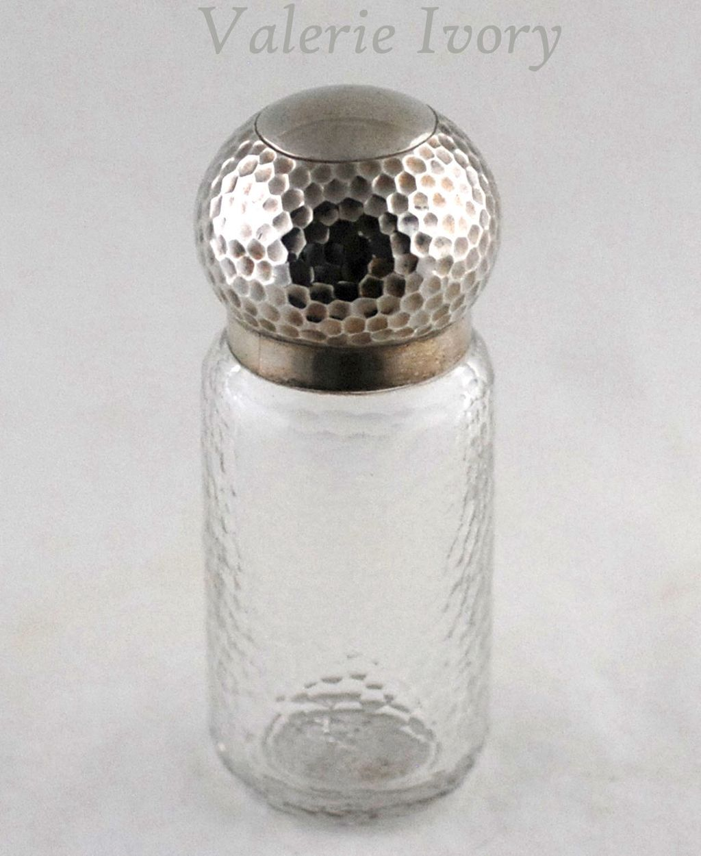 Silver Topped Glass Bottle / Dresser Jar  -  London 1916-17