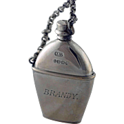 Victorian Silver Figural Perfume Scent Brandy Flask – dated 1888