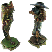 Pair Owl Wolf Painted Spelter Candlesticks - Bizarre Characters – c 1890