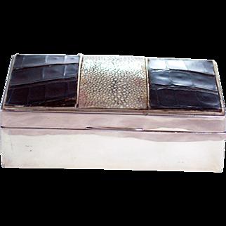 Birmingham 1925 - Shagreen Alligator Crocodile Sterling Silver Box