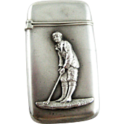 Antique Golf Match Safe Vesta Sterling Silver – c 1900