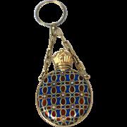 Swiss 18kt Gold, Red Blue Enamel Perfume Scent Bottle C 1860
