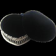 Large Heart,  Sterling Silver, Velvet Jewelry Box – C 1900