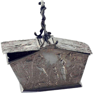 Antique Dutch Silver Miniature Basket Box - Chinoisserie