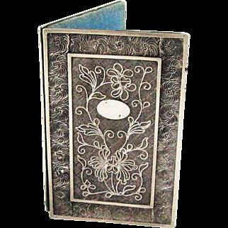 19th C. Silver Filigree Book Form Aide Memoire Note Book