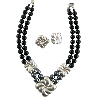 Vintage Silver Black Onyx & Hematite Bead Necklace – Earring Set – Marked NR Sterling