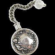Vintage Silver Perfume Scent Bottle Cherub Flowers